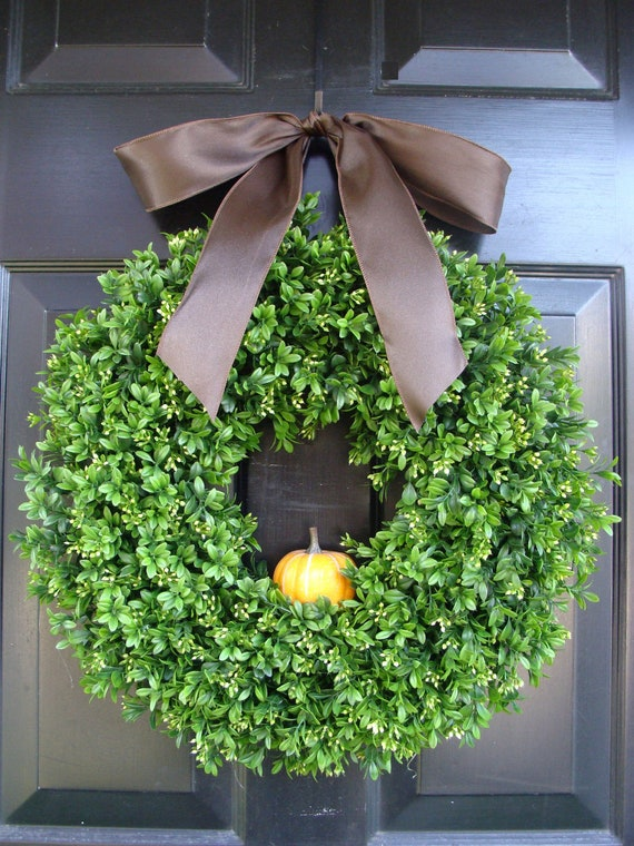 Harvest Boxwood Fall Wreath with Pumpkin and Burlap Bow, Thanksgiving Fall Wreaths, Wreath for Fall