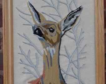 Embroidered Deer Art / Framed Deer Crewel Work / Deer Needlework / Deer Art / Deer
