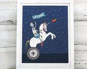 Robot Unicorn Gladiator print. Boys room art.