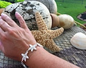 Silver Starfish Beach, Bracelet, Bridal Party Gift, Destination Beach Wedding Jewelry, FREE SHIPPING