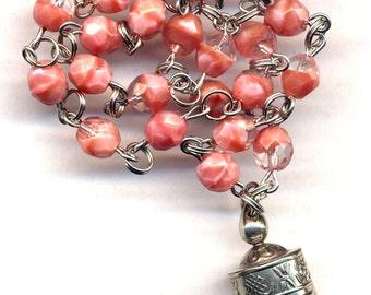 Tibetan Prayer Wheel Necklace, Nepal Prayer Wheel Pendant, Pink Coral Ethnic Necklace, Nepal Jewelry by AnnaArt72