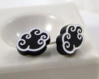 Silver Lining Rain Cloud Stud Earrings