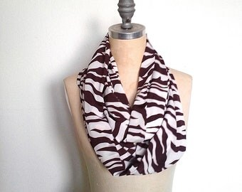 Infinity Scarf, Ivory and Brown, Zebra Print, Circle Scarf, Cowl Scarf