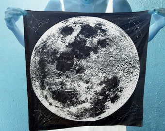 Black, navy, cream, purple, blue, green Moon Bandana, printed in Portland, reusable cloth with space stars and animal constellations print