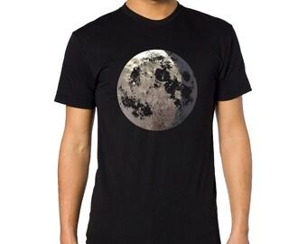Moon Shirt, Mens Full Moon tShirt, Mens Moon t shirt, Moon tee, Silver moon, Crescent Moon, Unisex Clothing, Astronomy shirt, Moon art Space