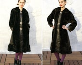 Vintage 60s 70s Made in England Leather and Faux Fur Mod Coat Gold Buckles M L