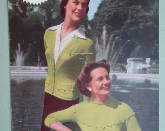Vintage 1950s Knitting Pattern Womens Twin Set Jumper Sweater Cardigan with dropped shoulder line 50s original pattern