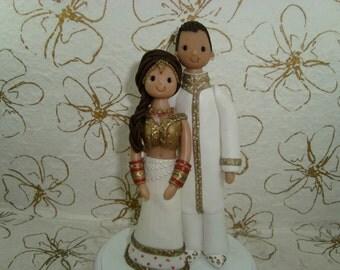 Custom Handmade Ethnic Couple Wedding Cake Topper