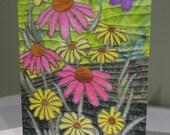 Art Quilt Note Card - Butterfly Garden - TerryAskeArtQuilts