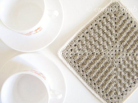 Annie, ecofriendly organic cotton crochet potholder in taupe and cream, simple rustic elegance - READY TO SHIP, by Emma Lamb