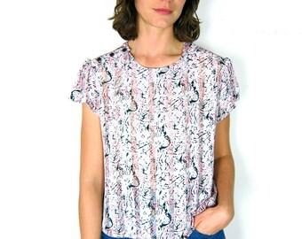 Lovely, Sheer Pink Patterned Crop Top