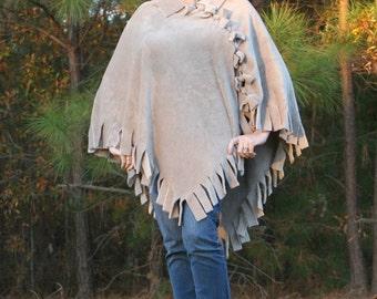 Silver Taupe Mink Fleece Poncho - Handmade Luxury