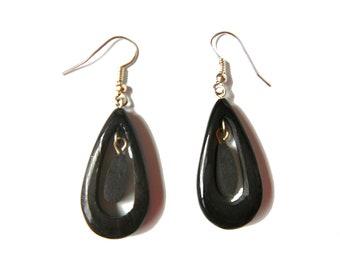 boho wood dangle earrings -bell playa beach island