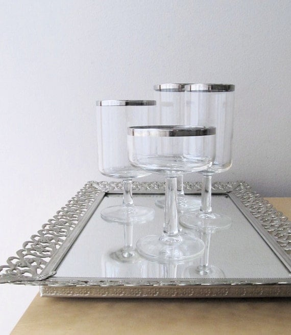 stemmed glasses silver rims, service for four, champagne coupe, flute, wine goblet, water glass