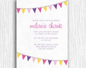 Printable Shower Invitation - Purple and Pink Bunting Invite