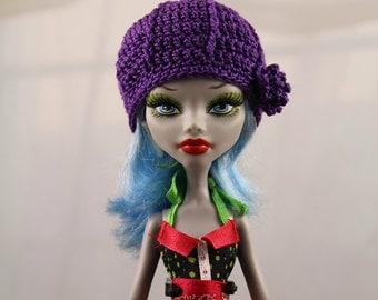 Purple Crochet Hat for Monster doll, MH Dolls