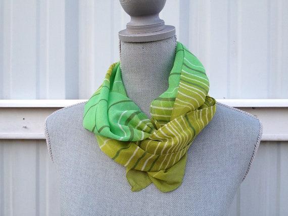 Vintage Green Striped Silk Scarf