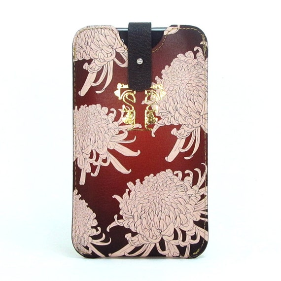 Leather iPhone 5 / new iTouch Case - Chrysanthemums in Oxblood red
