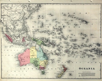 Antique Map of Australia - New Zealand - Pacific Ocean - 1880 Large Handcolored Map