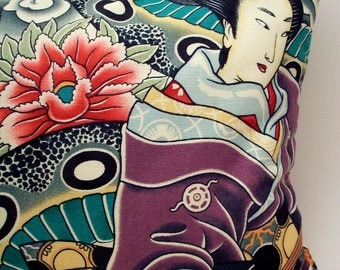 Lavender Buckwheat Throw Pillow - Asian Tattoo Style Geisha Skull and Snake Decorative Pillow - 13 1/2 inches X 8 1/2 inches (32 cm X 21 cm)
