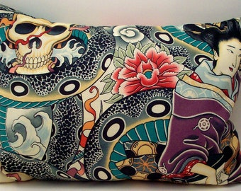 Lavender Buckwheat Throw Pillow - Asian Tattoo Style Geisha Skull and Snake