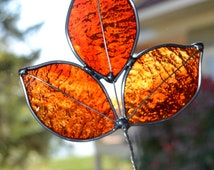 Flame Red Stained Glass Autumn Leaf