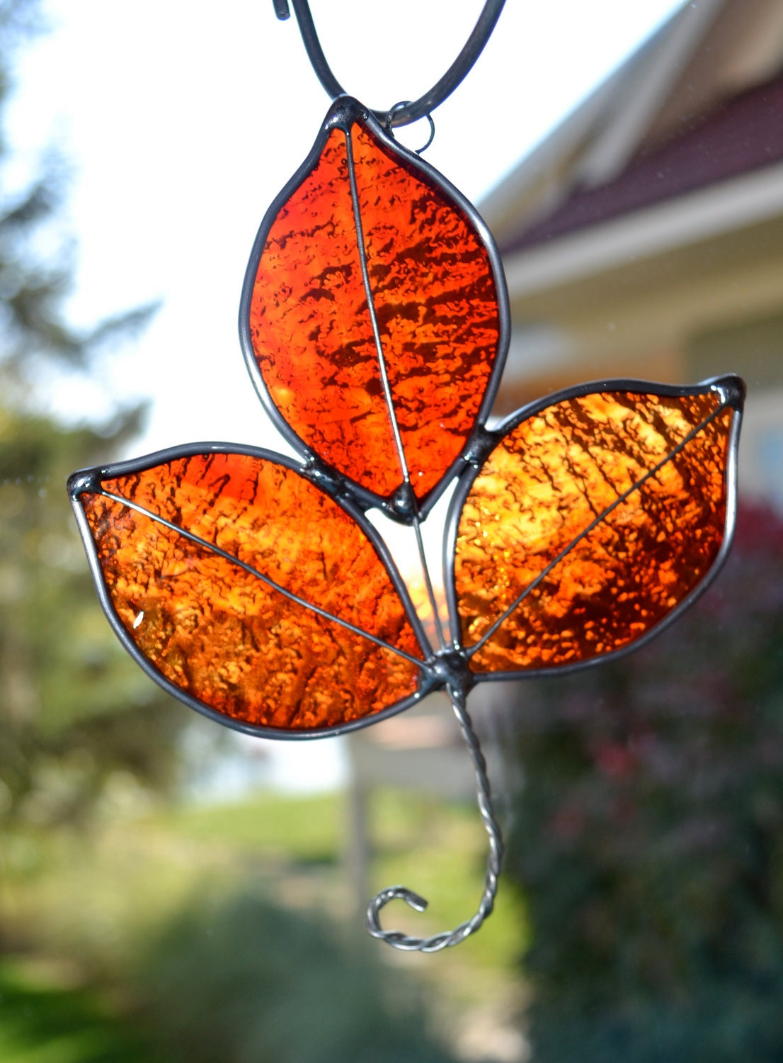 Red Stained Glass : Flame red stained glass autumn leaf