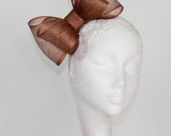 Metalic Copper 8 Inch Cliverina Fascinator Kentucky Derby or Wedding Hat on a Headband