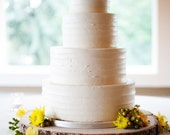"""18"""" Rustic Wood Tree Slice Wedding Cake Base or Cupcake Stand for your Country Chic Event and Party"""
