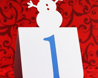 Snowman Table Numbers Set 1 to 25 Wedding