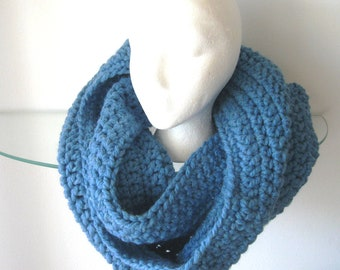 Infinity Scarf Chunky Cowl Neck Warmer Hooded Cowl Sky Blue Oversized
