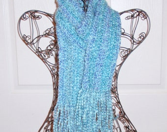 Hand Crocheted Scarf, SUPER SOFT Homespun Yard in Waterfall Blue - Women's Fashion Scarf, Woman's Apparel, Scarf, Scarves, Fashion Accessory
