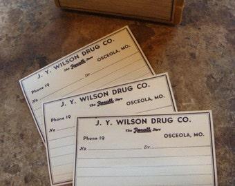 One Dozen Antique1900s  Pharmacy J. Y. Wilson Drug Co. Gummed Labels