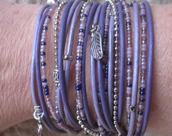 Beautiful Multistrand Wrap Bracelet - Customizable - Purple Leather Bracelet for Women - Best Selling Item - Choose Four Charms