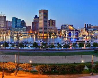 CANVAS Baltimore Inner Harbor Skyline Panoramic Print Photographic Cityscape