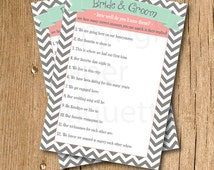 """INSTANT UPLOAD Bridal Shower Game """"How Well do you know the Bride & Groom""""- Mint,Coral Wedding Shower, Bridal Shower Game, Bachelorette Game"""