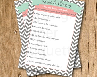 "INSTANT UPLOAD Bridal Shower Game ""How Well do you know the Bride & Groom""- Mint,Coral Wedding Shower, Bridal Shower Game, Bachelorette Game"