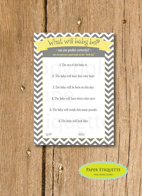 chevron baby shower game what will baby be game yellow baby shower