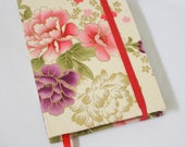 Journal Notebook Chysanthenum Flower Fabric Handstitch Coptic Stitch (Size A6)