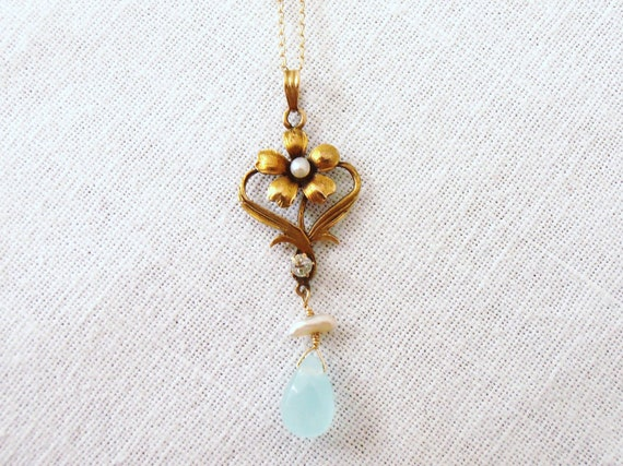Art Nouveau 14k Necklace with Chalcedony, Pearl and Diamond