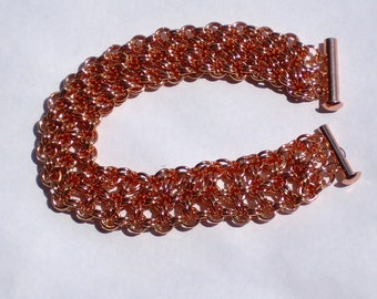 Solid Copper Chainmaille Triple Strand Bracelet