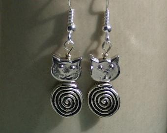 Silver Cat Eternity Cat Earrings
