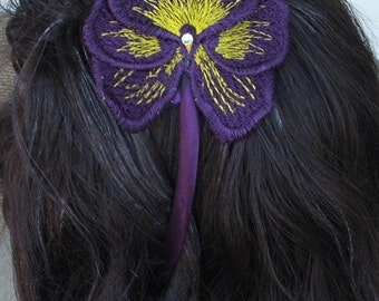 Headband, Purple, flower, pansy, embroidered freestanding lace with Swarovski crystal, READY TO SHIP