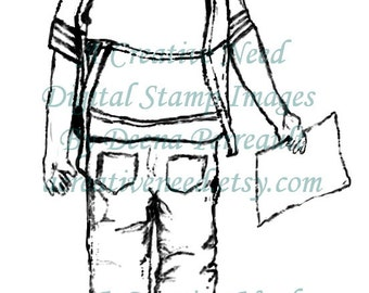 INSTANT DOWNLOAD Digital Stamp Image SCHOOL Boy