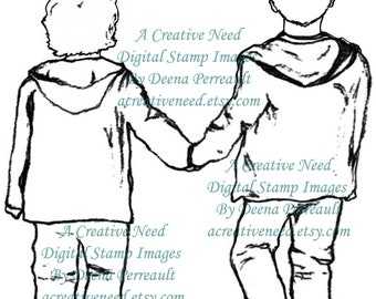 INSTANT DOWNLOAD Digital Stamp Image BROTHERS