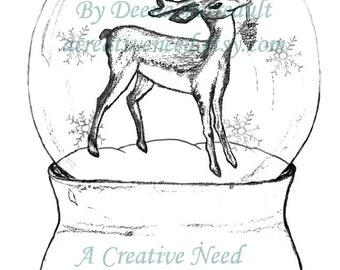 INSTANT DOWNLOAD Digital Stamp SNOWGLOBE with reindeer hand drawn image digitized