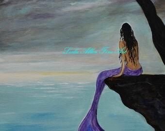 """Mermaid Art Print Mermaids Memraid Home Decor Wall Art Mermaid Purple LARGE ART PRINT Art Decor  """"Mermaid Oasis"""" Leslie Allen Fine Art"""