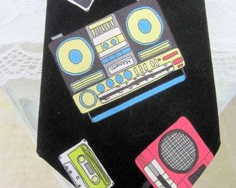 Cassette Deck Tie - Custom Hand Tailored  Neck Tie Necktie Retro Boom Box and Cassette Tape - Old School DJ -Mix Tape Tie - Retro Necktie