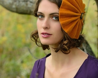 Fall Hat - orange felt hat