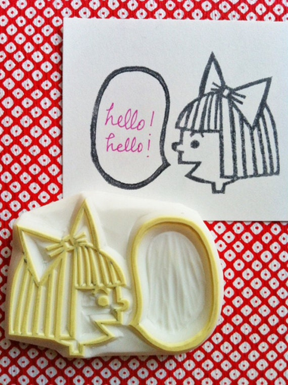 girl hand carved rubber stamp. speech bubble stamp. write a message. birthday scrapbooking. thinking of you card making. gift wrapping